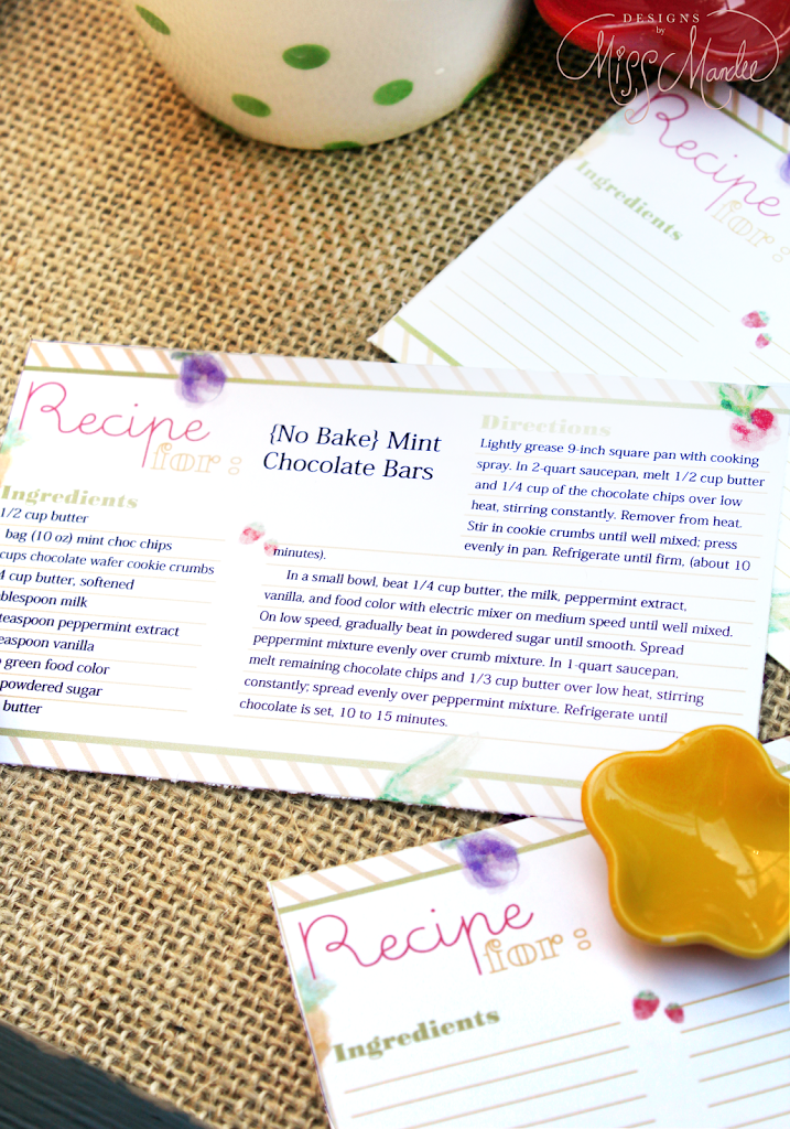 editable recipe cards designs by miss mandee