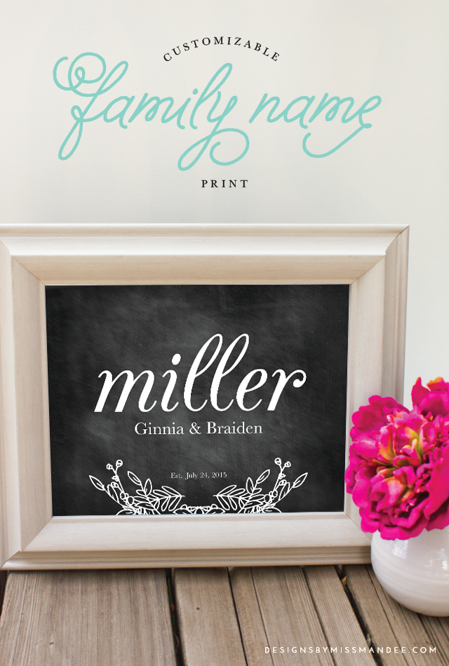 Average Wedding Gift 2015 : ... Family Name Print - Wedding Gift Idea - Designs By Miss Mandee