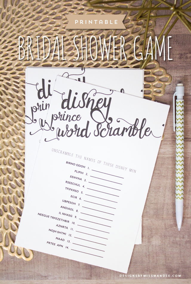 Disney Prince Word Scramble