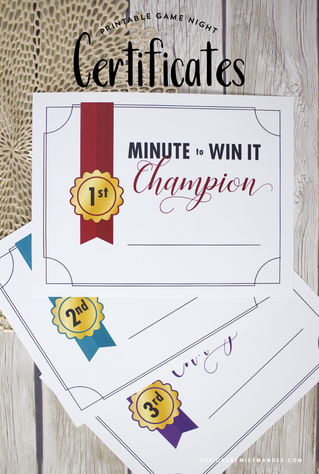 Minute To Win It Printable Certificates Designs By Miss Mandee