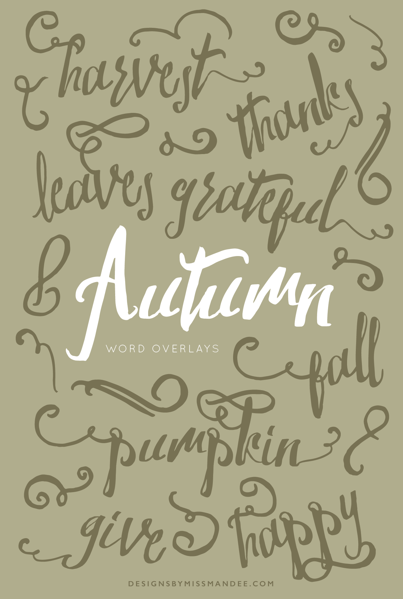 Autumn Word Overlays