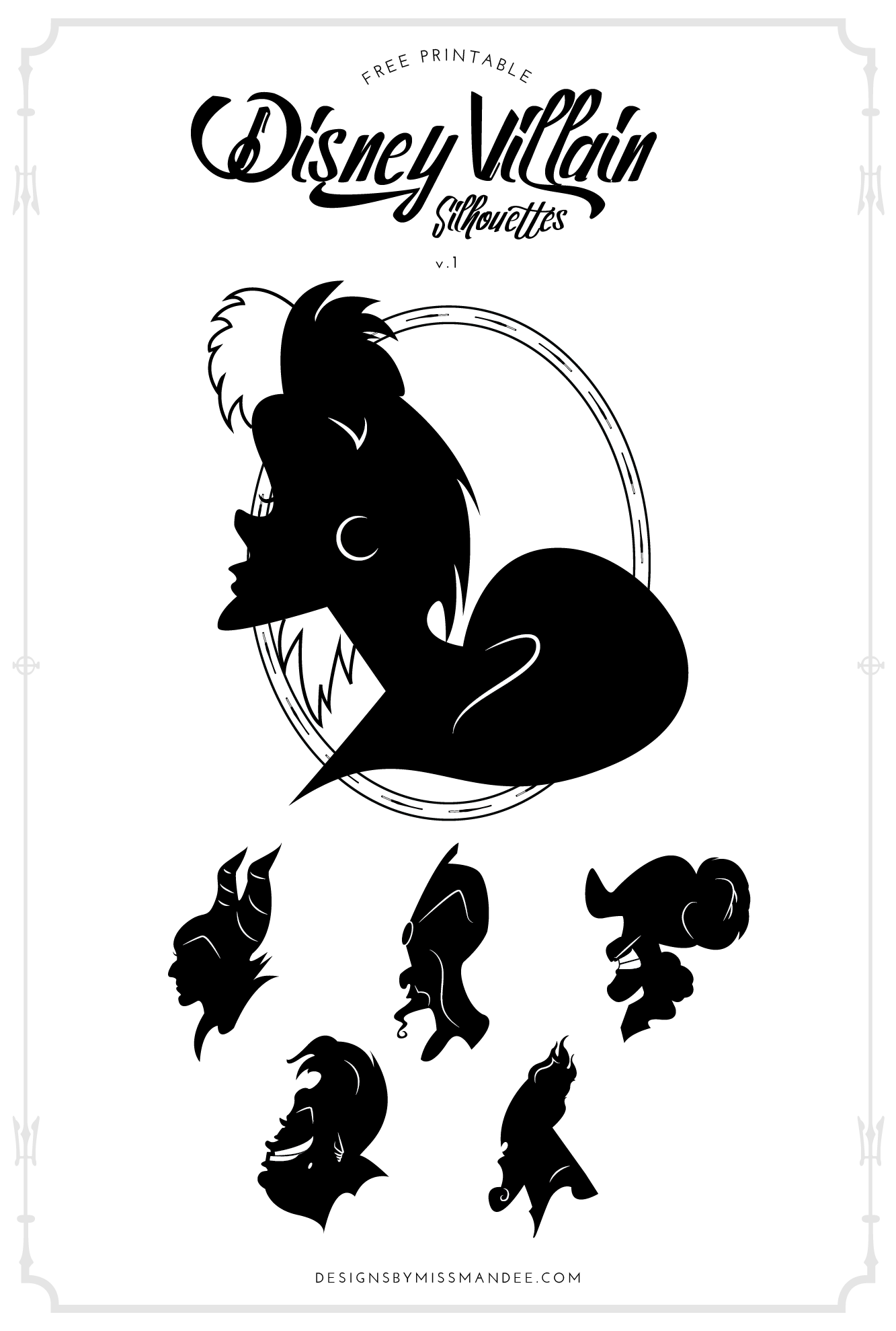 photograph regarding Free Printable Disney Silhouettes named Disney Villain Silhouettes v.1 Types By way of Overlook Mandee