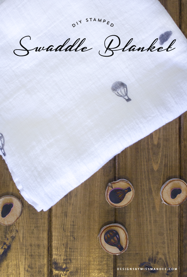 DIY Stamped Swaddle Blanket
