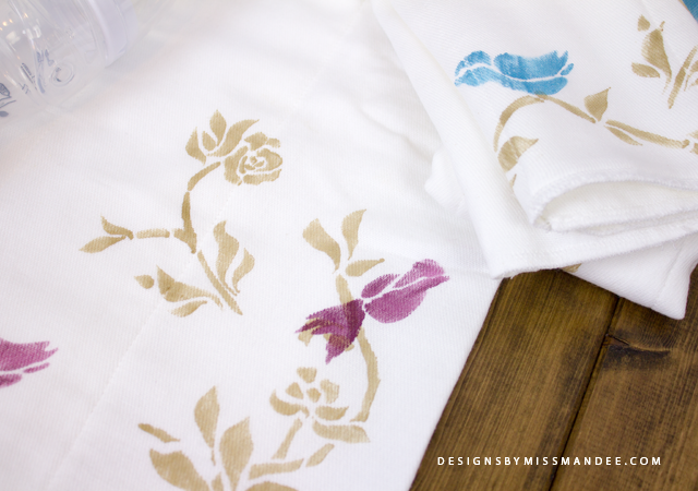 DIY Stenciled Burp Cloths