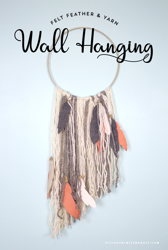 Felt Feather and Yarn Wall Hanging