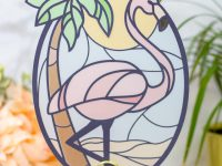 Stained Glass Flamingo